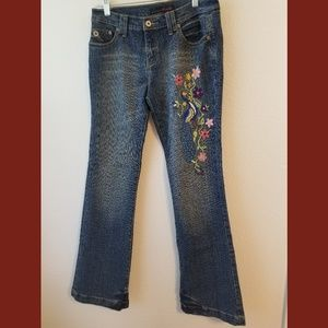 Willi Smith Embroidered Peacock Floral Jeans Sz 6